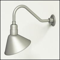 "Aluminum Gooseneck RLM Light 18""L x 1/2"" Dia. Arm with 12"" Angle Shade"