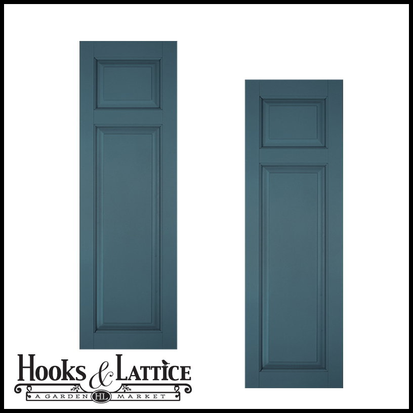 18in Wide Classic Collection Raised 2 Unequal Panel Shutters Pair
