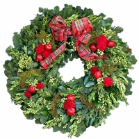 18in. Christmas Cheer Fresh Wreath w/ Ribbon