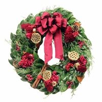 18in. Fresh Crimson Christmas Wreath