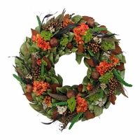 18in. Rustic Autumn Dried Wreath