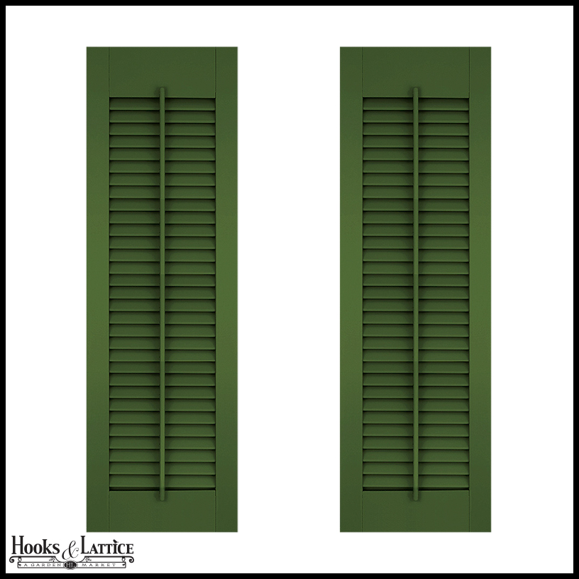 15in Wide Architectural Collection Fixed Louvered Composite Fiberglass Shutters W Faux Tilt