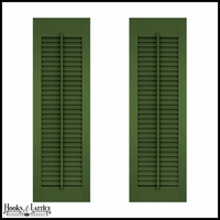 12in. Wide - Architectural Collection Fixed Louvered Composite Fiberglass Shutters w/ Faux Tilt Rod (Pair)