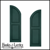 18in. Wide - Architectural Collection Raised 2 Equal Panel Shutters w/ Arched Top (pair)