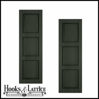 18in. Wide Classic Collection Raised 3 Equal Panel Shutters (pair)