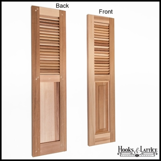 18in. Wide - Cedar Combination Louvered over Panel Exterior Shutters (pair)