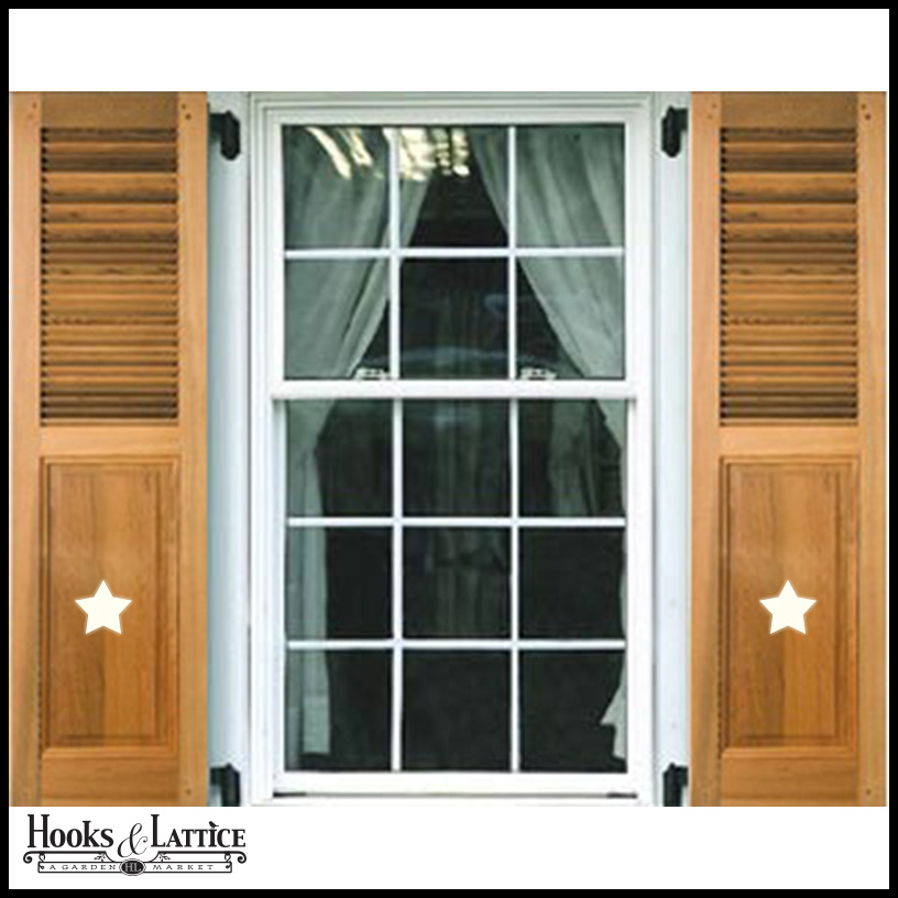 Exterior Wooden Shutters With Cutouts Hooks Lattice