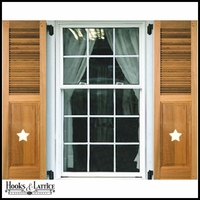 12in. Wide - Cedar Combination Louvered over Panel Exterior Shutters (pair) with Cut Out on Panel