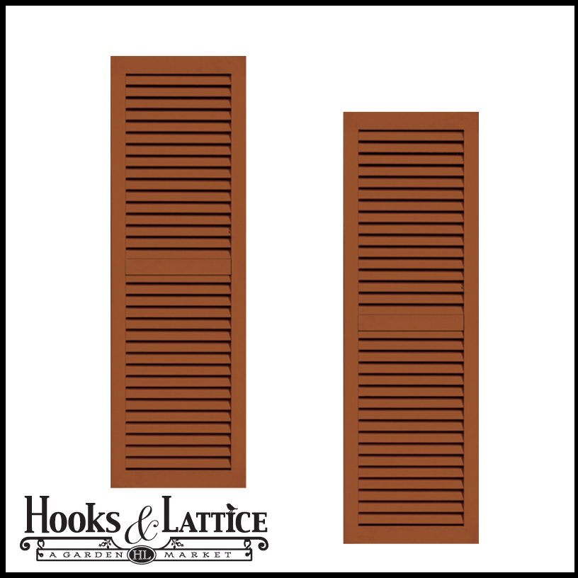 18in Wide Classic Collection 2 Panel Faux Louvered Wood Composite Shutters Pair