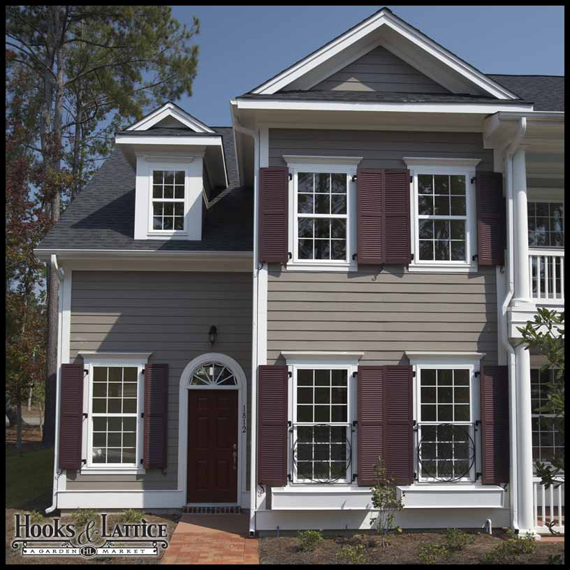 18in wide classic collection 2 panel faux louvered wood composite shutters pair for 18 inch wide exterior shutters