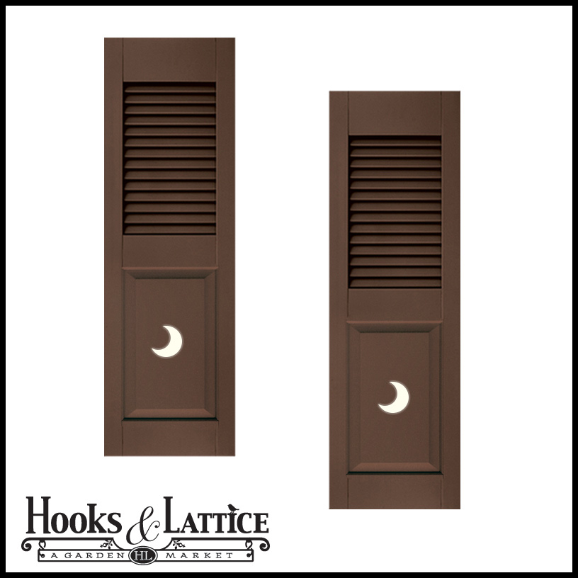 18in Wide Designer Collection Louvered Over Paneled Fiberglass Exterior Shutters Pair