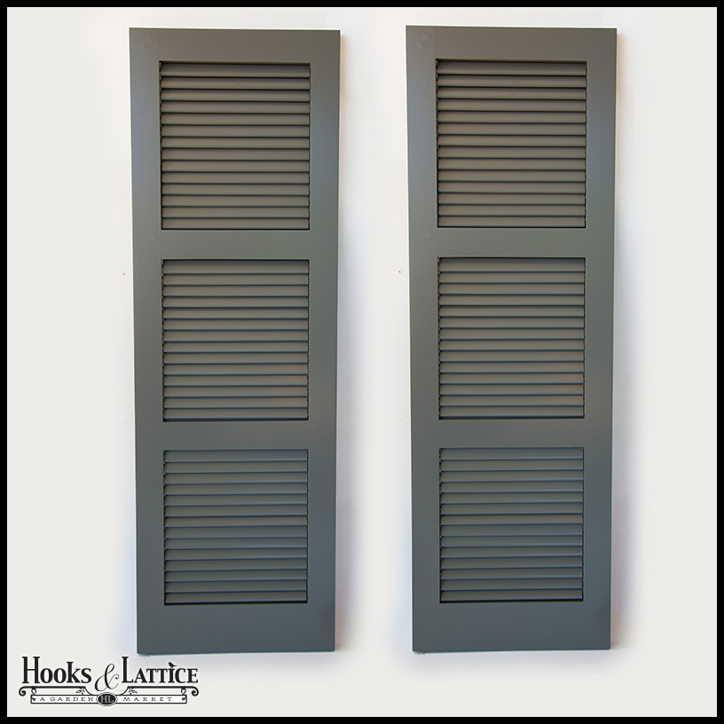 Louvered custom exterior shutters functional hooks lattice for 18 inch wide exterior shutters