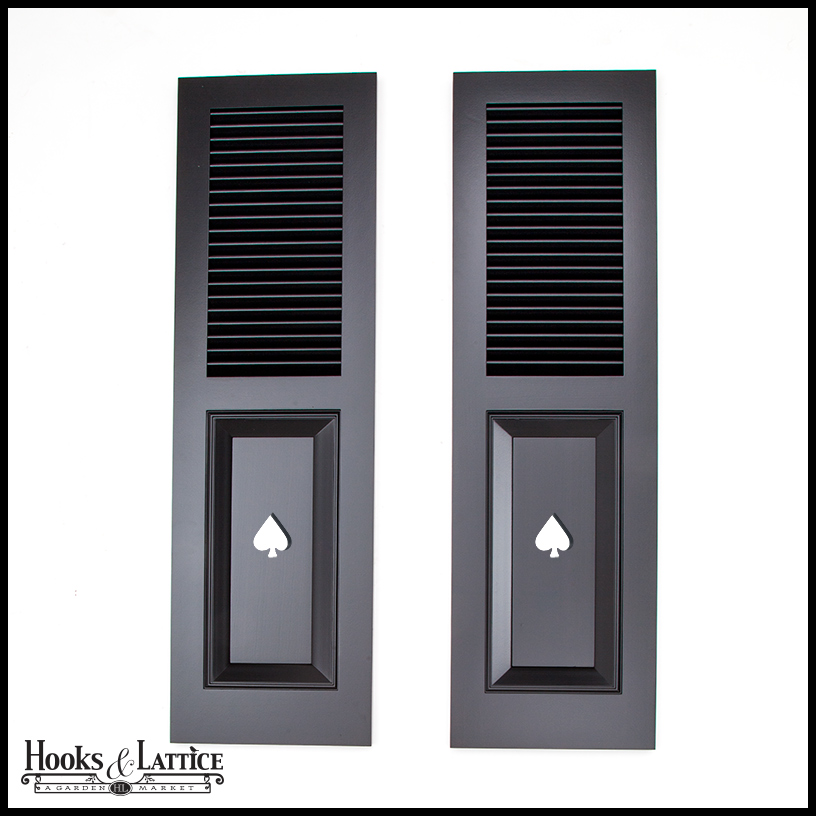 Wooden Louver Panel Shutters Outdoor Hooks Lattice