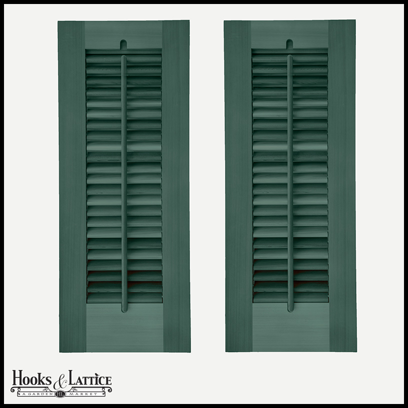 Operable Louvered Privacy Shutters, Outdoor - Hooks & Lattice