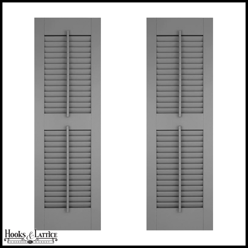 18in Wide W Center Rail Architectural Collection Fixed Louvered Composite Fiberglass