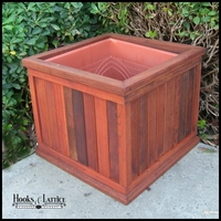 "19""L x 19""W x 15""H Palo Alto Redwood Planter with Heavyweight Plastic Liner"