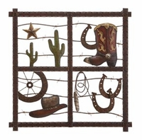 """20""""W x 20""""H Barbed Wire & Boats Western Wall Decor"""