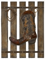 """20""""W x 26""""H Boot & Rope on Fence Wall Decor"""