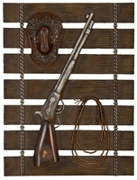 """20""""W x 26""""H Rifle, Rope & Hat on Fence Wall Decor"""