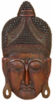 """20""""W x 40""""H Wood Face Carving Wall Decor"""