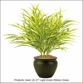 21in. Artificial Ribbon Grass Light Green-Outdoor Rated