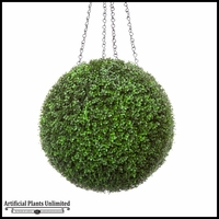 21in. Artificial Boxwood Hanging Sphere, Ornamental Long Grain, Indoor Rated
