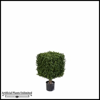 21in.H Duraleaf Boxwood Topiary Cube Tree in Weighted Base, Outdoor Rated