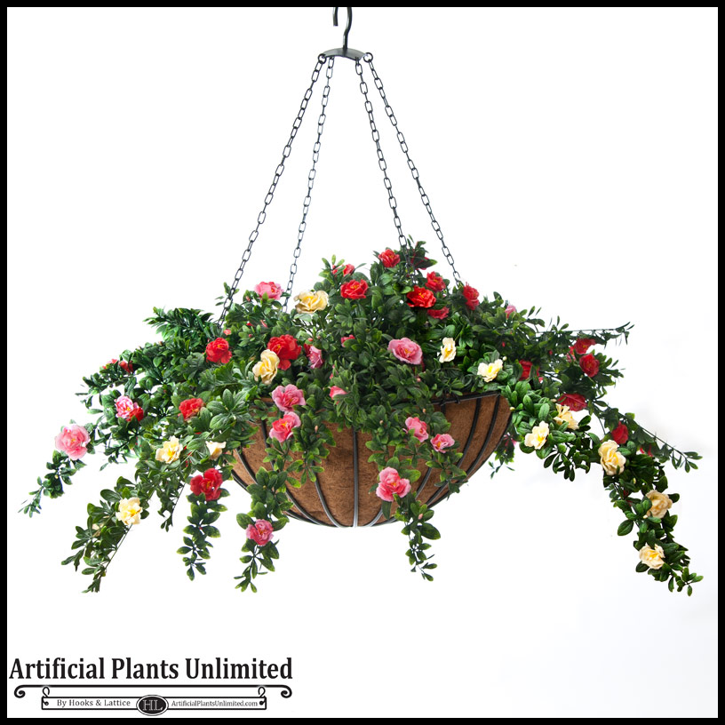"22"" hanging basket with 5 artificial azalea plants - 3 colors Artificial Plants for Outdoor Planters"