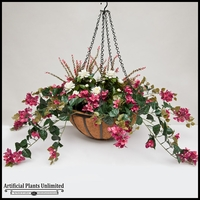 "22"" Hanging Basket with Artificial Bougainvillea Arrangement with 8 Plants - Lavender/Fuschia"