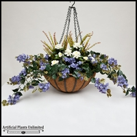 "22"" Hanging Basket with Artificial Bougainvillea Arrangement with 8 Plants - Purple"