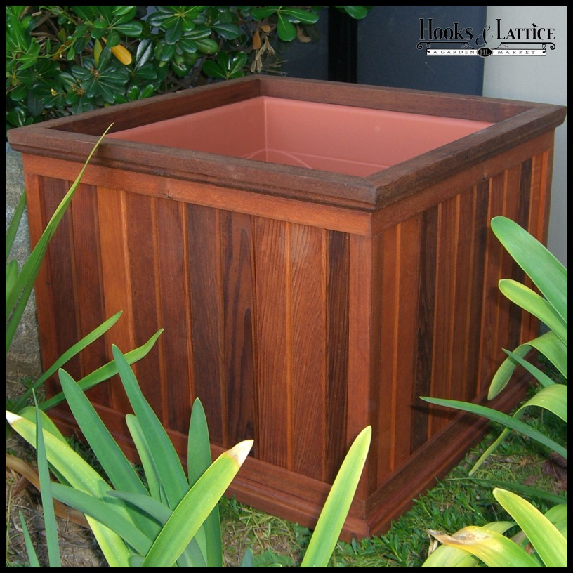 """Large Redwood Planter Box For Tomatoes: 22""""L X 22""""W X 17""""H Palo Alto Redwood Planter With"""