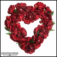 22in. Heart Shaped Peony Wreath, Red
