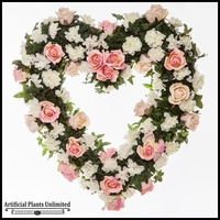 22in. Heart Shaped Rose Wreath, Pink/White