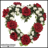 22in. Heart Shaped Rose Wreath, Red/White