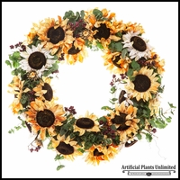 22in. Sunflower Wreath, Yellow/White