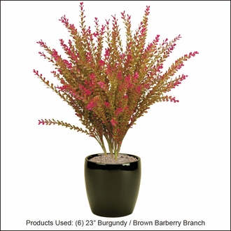 23in. Artificial Barberry Shrub Burgundy/Brown-Outdoor Rated