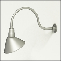 "Aluminum Gooseneck RLM Light - 24-3/4""L x 3/4"" Dia Arm - 12"" Angle Shade"