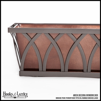 "24"" Arch Decora Window Box with Oil-Rubbed Bronze Galvanized Liner"