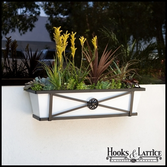 "24"" Medallion Decora Window Boxes w/White  Galvanized Liner"