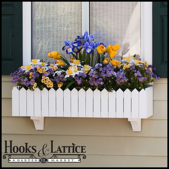 "24"" Picket Fence Premier Window Box w/ *Easy Up* Cleat Mounting System (with Countryside Plastic Liners Included)"