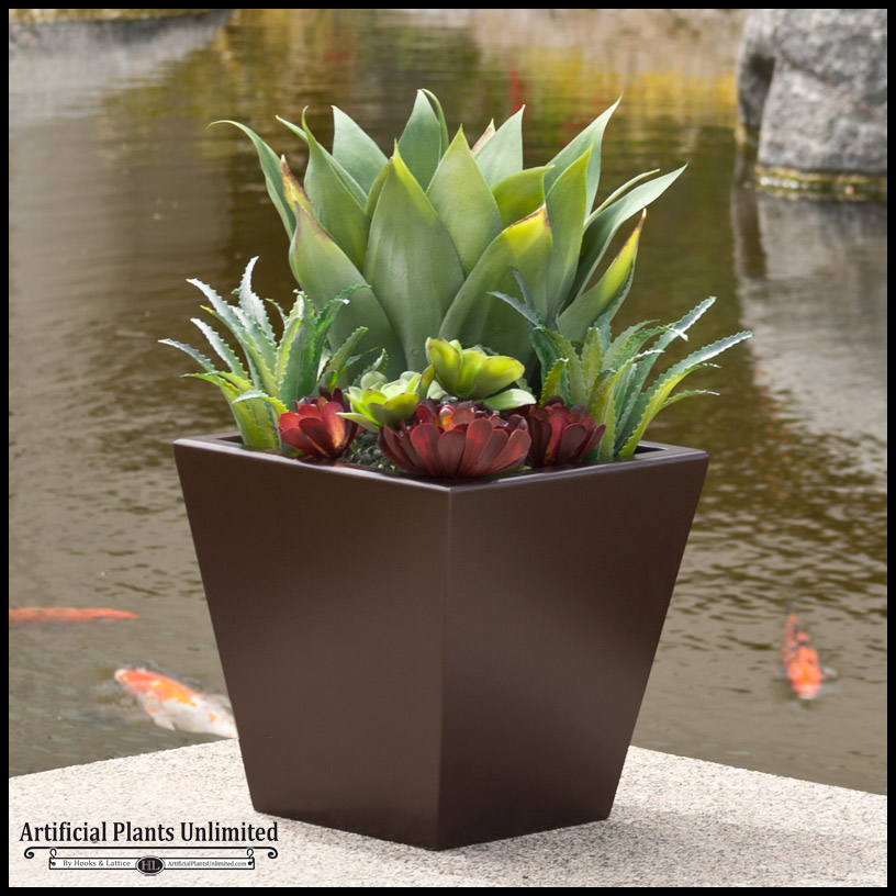 24in urban chic planter with artificial agave and Planters for succulents