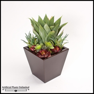 24in. Urban Chic Planter with Artificial Aloe and Assorted Succulents