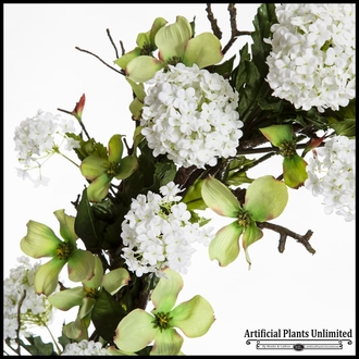 24in. Magnolia Wreath, Green/White