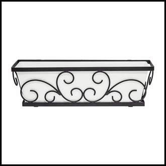 24in. Regalia Decora Window Box with White Galvanized Liner