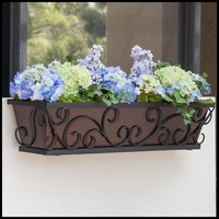 24in. Regalia Decora Window Box with Textured Bronze Liner (Hammered Finish)