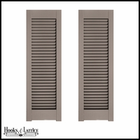 12in. Wide - Architectural Collection Single Panel Louvered Shutters w/ Horns (Pair)