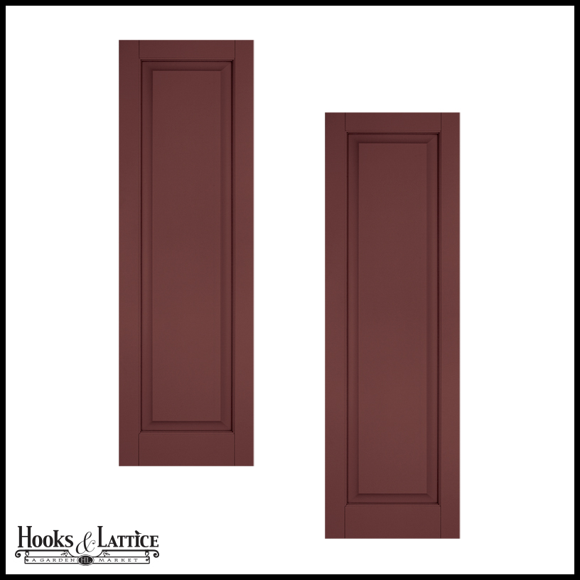 Raised single panel exterior wood shutters hooks lattice for 18 inch wide exterior shutters