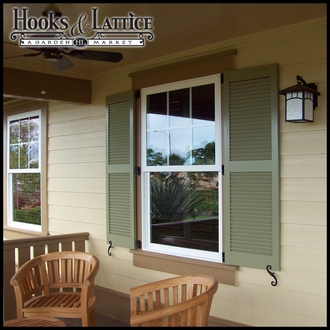 24in. Wide w/ Center Rail - Architectural Collection Fixed Louvered Composite Fiberglass Shutters (pair)