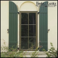 24in. Wide with 5 Boards and Arched Top - Classic Collection Composite Board & Batten Shutters (pair)