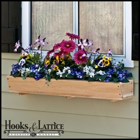 "24"" Tapered Cedar Wood Window Box Including Mounting Bracket"